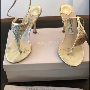Jimmy Choo Shoes - Jimmy Choo gold glitter wrap around sandals