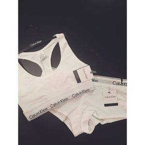 "Calvin Klein ""White"" Sports Bra & Boyshort Set"