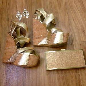 Gold Bebe platform wedges
