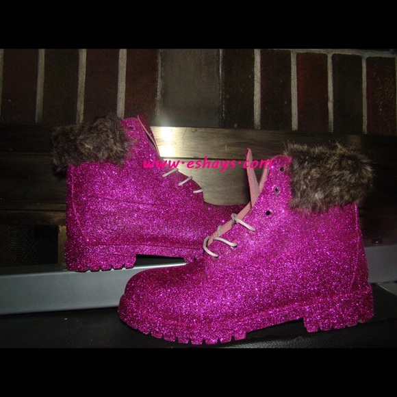 Hot Pink Glitter Timberland Boots with Fur Collar