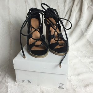 SILENCE + NOISE Lace Up Heels 7
