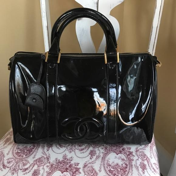 b7afffc5172e CHANEL Handbags - Chanel Boston Black Patent Travel Bag Vintage