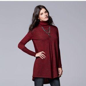 Vera wang pleated turtleneck sweater