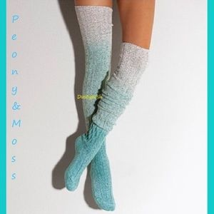 Peony and Moss Accessories - Peony & Moss Marled Cable Knit Thigh High Socks