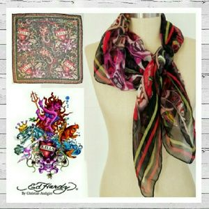 "Ed Hardy She Devil ""Love Kills Slowly"" Silk Scarf"