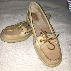 Ladies Sperry Topsider Angelfish Gold boat shoe