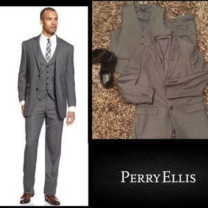 Perry Ellis Other - Perry Ellis🔴Portfolio 3pcSuitGreySharkskin Vested