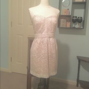 pale white lace sweetheart dress over light pink!