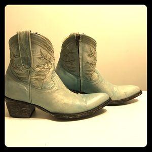 """Old Gringo Shoes - OLD GRINGO Polo Zipper 7"""" Aqua Cowboy Boots RARE"""