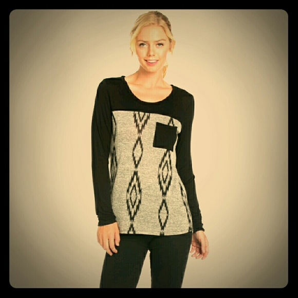 Blossom Apperal  Tops - *ONLY ONE LEFT! Black & Gray Pocket Top!*