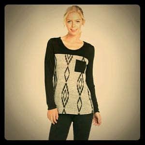 Blossom Apperal  Tops - SALE! *ONLY ONE LEFT! Black & Gray Pocket Top!*