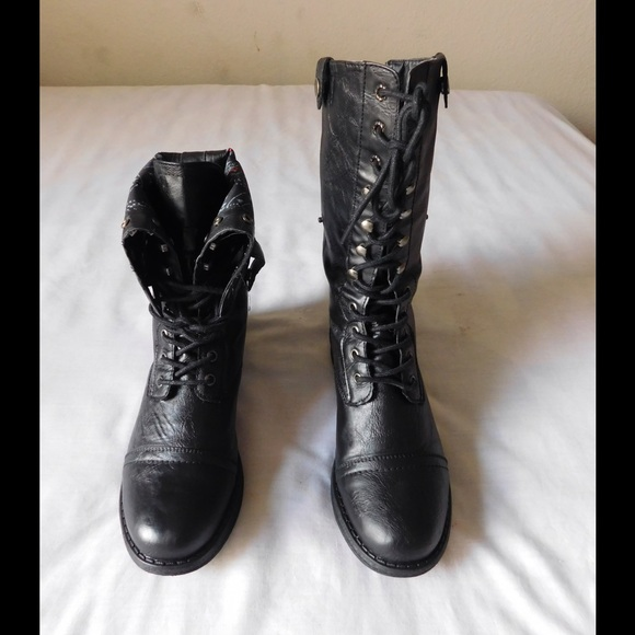 49% off Madden Girl Shoes - Divine Black Zorrba Combat Boots W ...