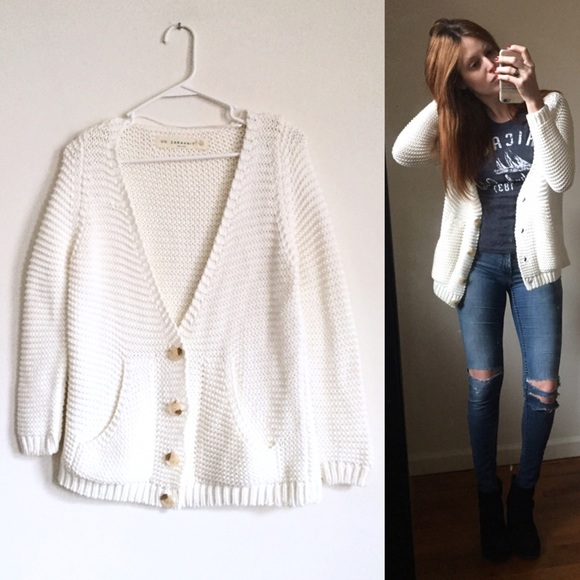 64% off Zara Sweaters - SALE! Zara Knit Chunky Off-White Cardigan ...