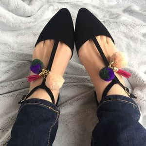 ALMOST GONE Black T-Strap Flats w Pom Pom & Tassel