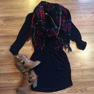 Black & red plaid blanket scarf