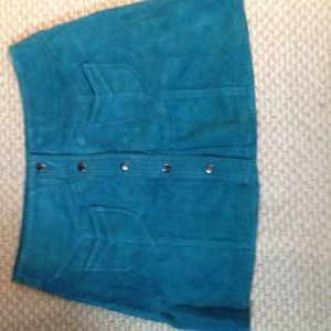 HM Leathercraft Dresses & Skirts - H & M size 12 suede teal mini skirt