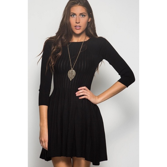 ce8f6a33a5c 3 4 Sleeve Ribbed Fit   Flare Sweater Dress