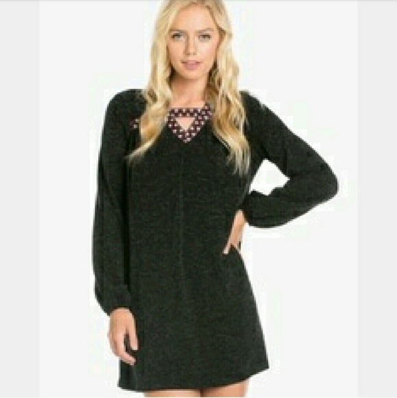 The Blossom Apparel Dresses - 🆑SALE! Embroidered Heather Knit Black Dress*