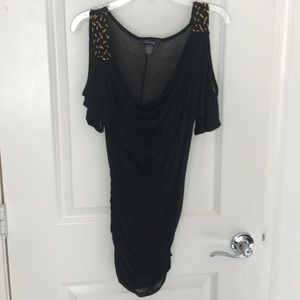 Timing Tops - Black Cold Shoulder Top gold Accents Size Small