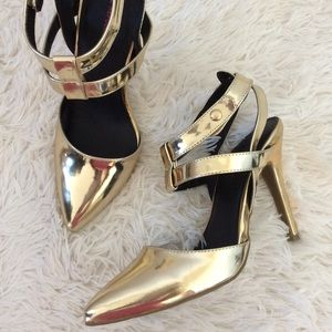 Metallic Gold Strappy Sling back Heels
