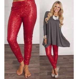 LASTThe BROOKLYN sequin leggings - RED