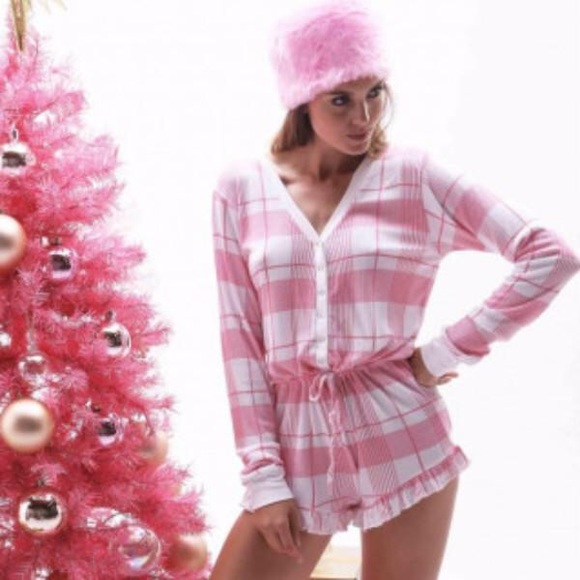 Wildfox Christmas Pajamas.Wildfox Pink Plaid Ye Rustic Romper Size S