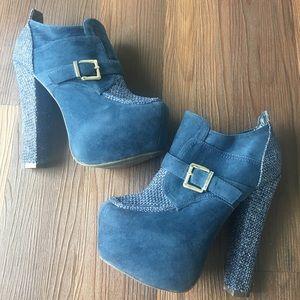 Liliana Shoes - Navy Blue Faux Suede & Tweed Platform Heels