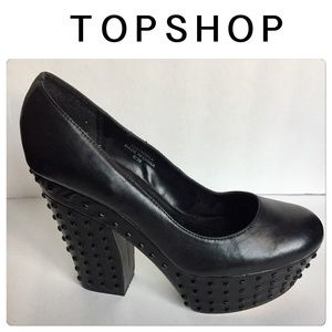  TOPSHOP - Blk Leather Studded Platform Pumps- 9