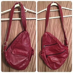 Vintage Handbags - Vintage Red Leather Backpack Purse Bag 1 Strap