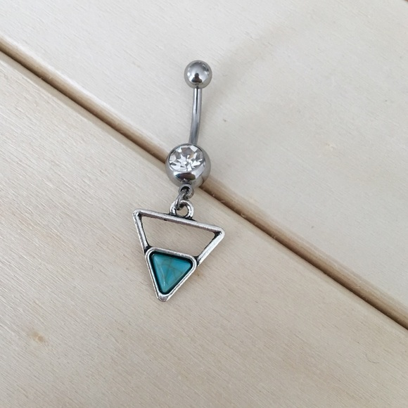 Boho Turquoise Triangle Belly Button Ring Boutique