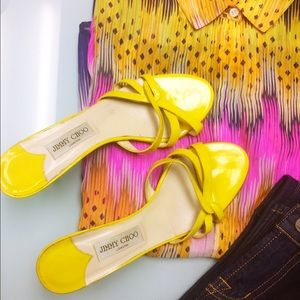 Jimmy Choo Yellow Patent Leather Strappy Heels