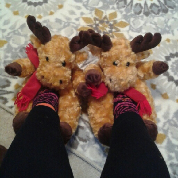 c67e108d8a47 Plush Reindeer Slippers!