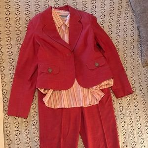 Coral Pant Suit w/ Coral striped Dress Shirt
