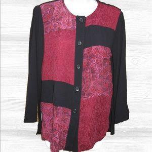 Carole Little Tops - Vintage Carole Little Colorblock Tunic Blouse,