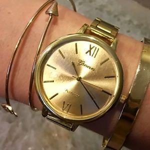 Gold Large Face Roman Numeral Watch