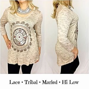 Tops - Marled Lace TribalnHi Low Tunic Tee Top SMLXL