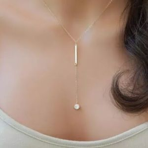 NEW! Gold bar drop necklace crystal statement
