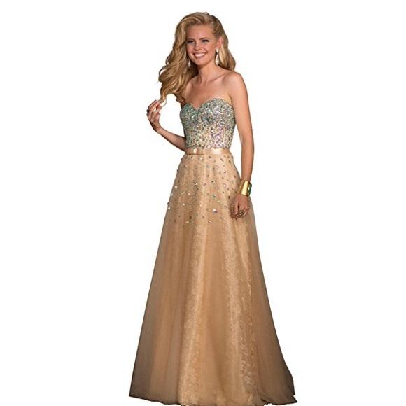 Jovani Dresses | Clarisse 2025 Gold Prom Dress | Poshmark