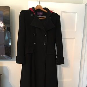 Ralph Lauren Wool Ankle Length Coat With Red Hood