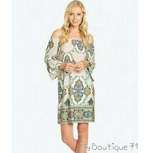 Boho Off Shoulder Midi Dress