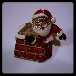 Vintage Santa into the chimney pin