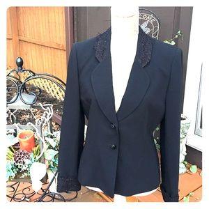 ALBERT NIPON Jackets & Blazers - ALBERT NIPON VTG BLACK BLAZER LACE SIZE 6