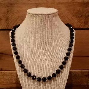 Vintage Jewelry - Vintage black beaded necklace