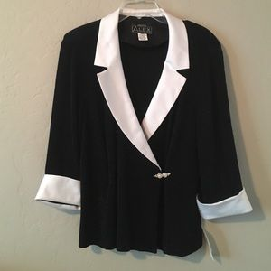 Alex Evenings Tops - NWT black and white Evening Top