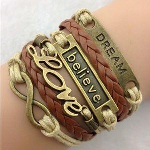 Jewelry - Infinity brown love dream believe bracelet new