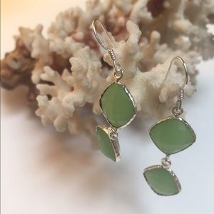 Mint earrings  gorgeous green faceted