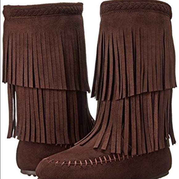 67% off Rampage Shoes - Rampage dark brown fringe boots from ...