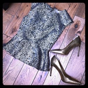 Gold & Black Peplum Top