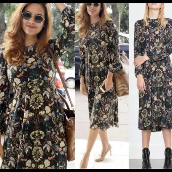4f9dc3d90e Zara long sleeve floral dress S. M_5848994136d5942ebc0029f8