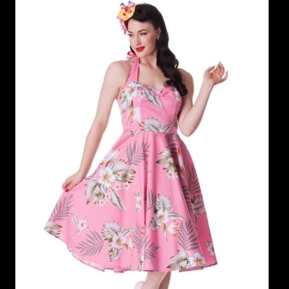 4be6c338892 Hell Bunny Dresses   Skirts - Hell Bunny Pink Hawaiian Alika Swing Halter  Dress